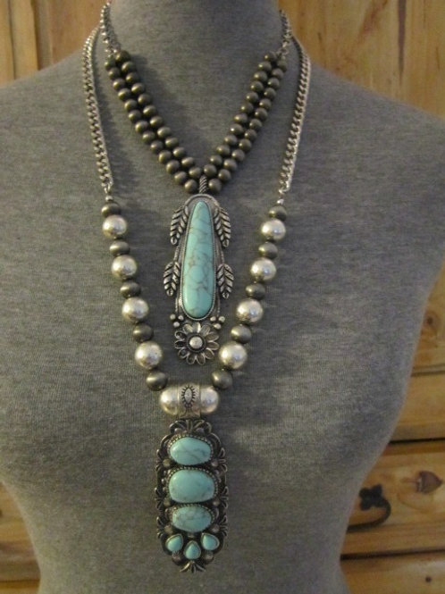 Long Double Layered Deco Turquoise and Beaded Silver Tone Necklace
