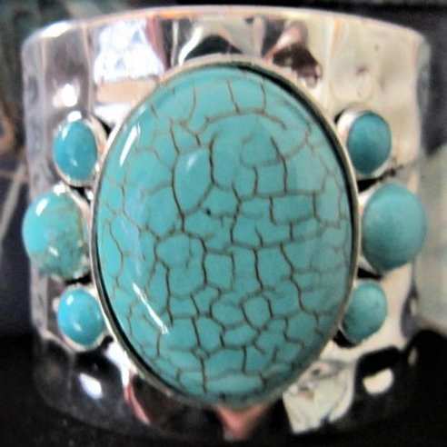 Beautiful Turquoise or Black Silver Cuff Bracelet