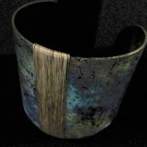 Unique Brass Multi-colored Patina Bracelet.