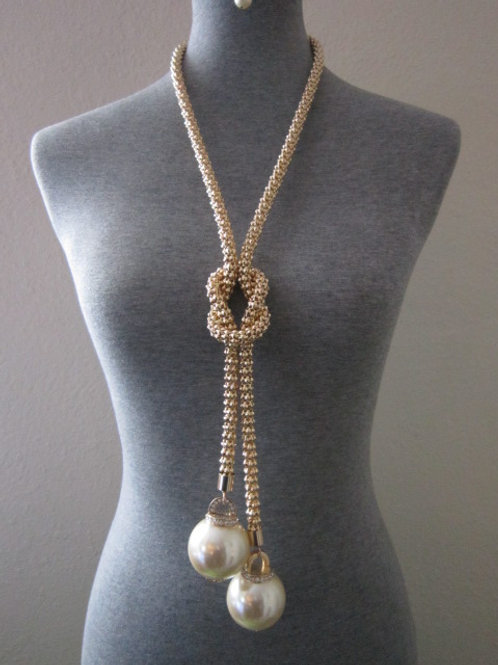 Eye Catching Gold or Silver Tone Long Necklace Set w/ 2 Large Pearl Like Baubles