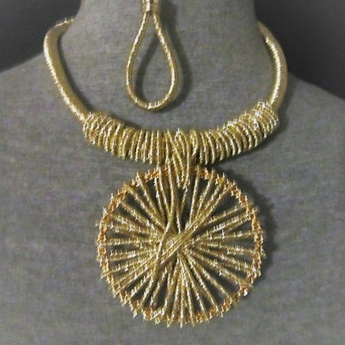 Gold or Silver Metallic Thread Wrapped Necklace Set