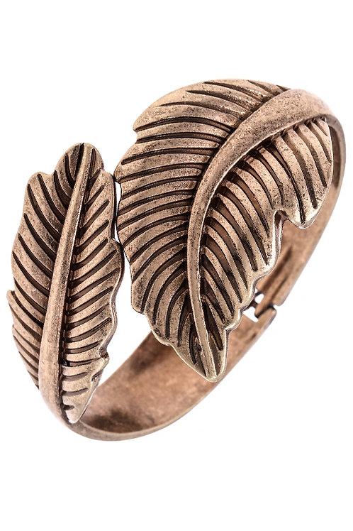 Antique Look Gold Tone Leaf Bangle Bracelet