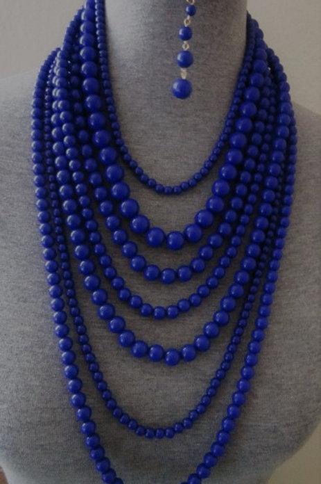 Matte Royal Blue Multi-Strand Beaded Necklace Set