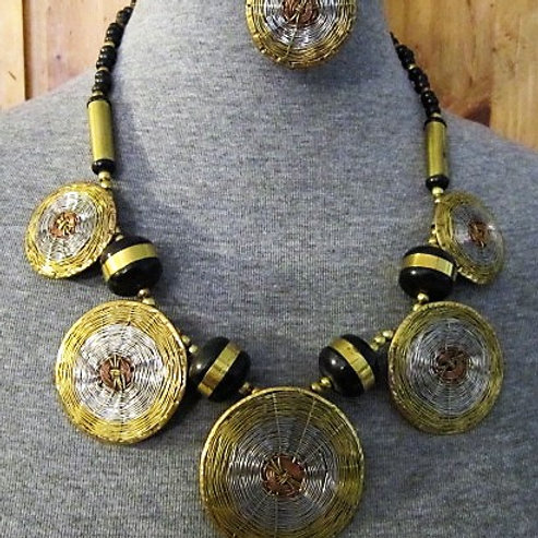 Gold & Silver Tone Tribal Metal Necklace Set