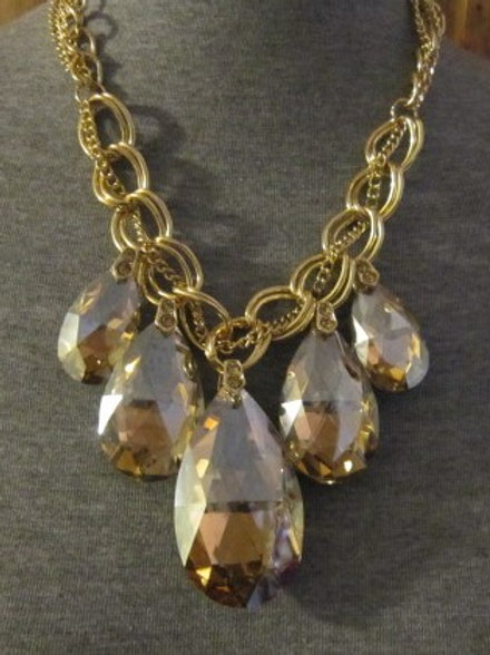 Champagne or Clear Large Five Hanging Teardrop Necklace & Earring Set