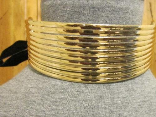 Large GoldtoneMetal  Choker w/ Velvet Ribbon
