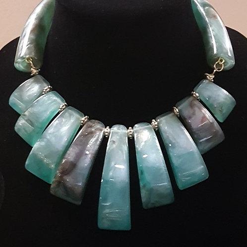 Green Tribal Statement Necklace and Bracelet Set