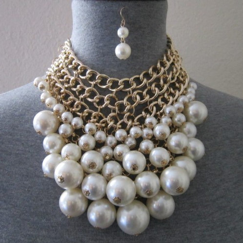 Statement Ascending Pearl Necklace Set w/ the Option of 3 Colors