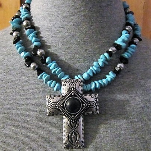 Turquoise Bead Necklace w/ Cross Pendant