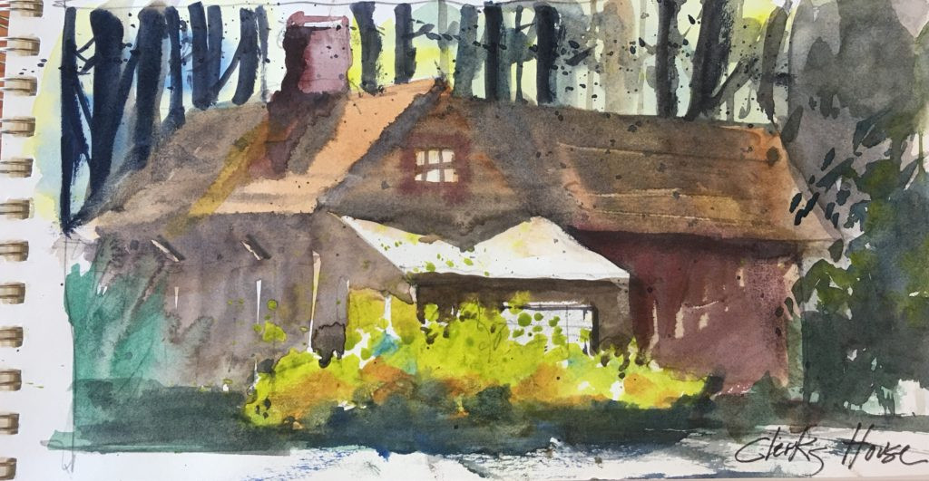 """6""""x 10"""" watercolor """"Clerks House"""""""