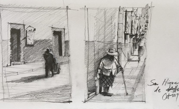 Graphite sketches in the streets of San Miguel