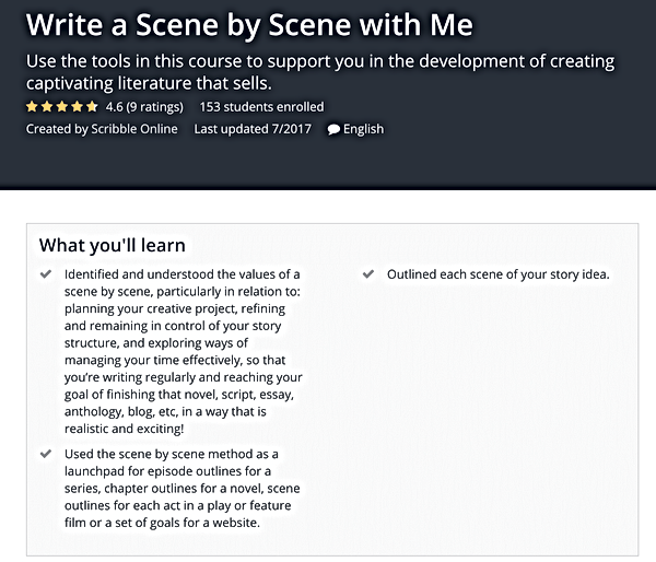 Write scene by scene with me Udemy cours