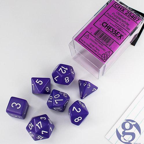 Chessex - 7 Piece - Opaque - Purple/White