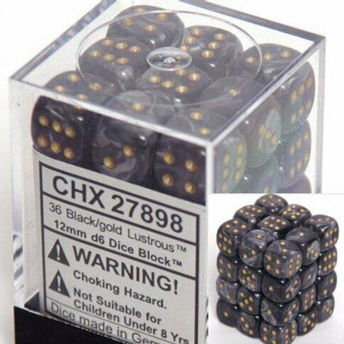 Chessex - 36D6 - Lustrous - Black/Gold