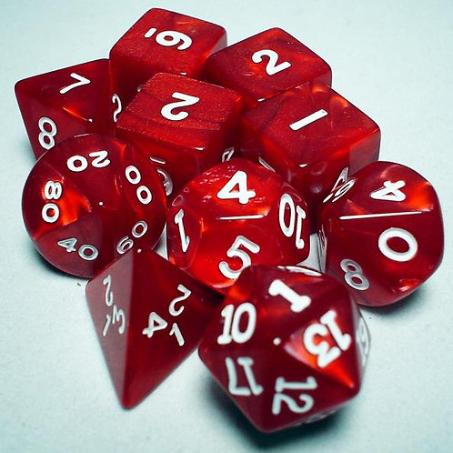 Polyhedral 10 Piece Dice Set Tube