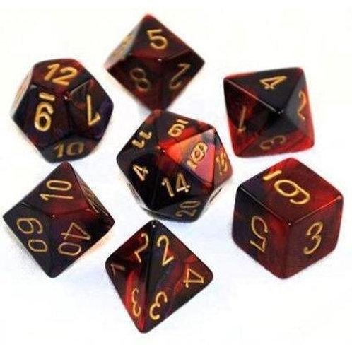 Chessex - 7 Piece - Gemini - Black-Red/Gold