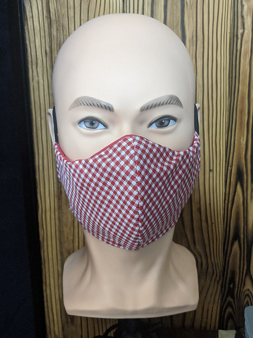 White & Red Checkered Mask