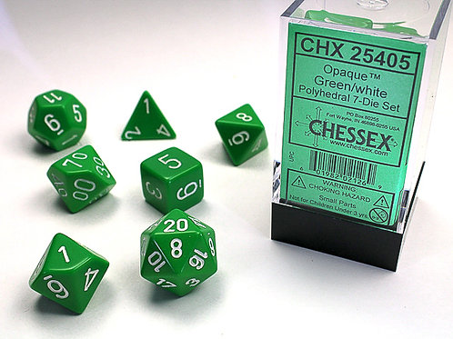 Chessex - 7 Piece - Opaque - Green/White
