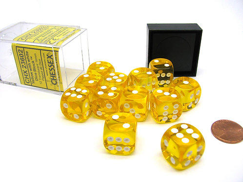 Chessex - 12D6 - Translucent - Yellow/White