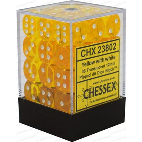 Chessex - 36D6 - Translucent - Yellow/White