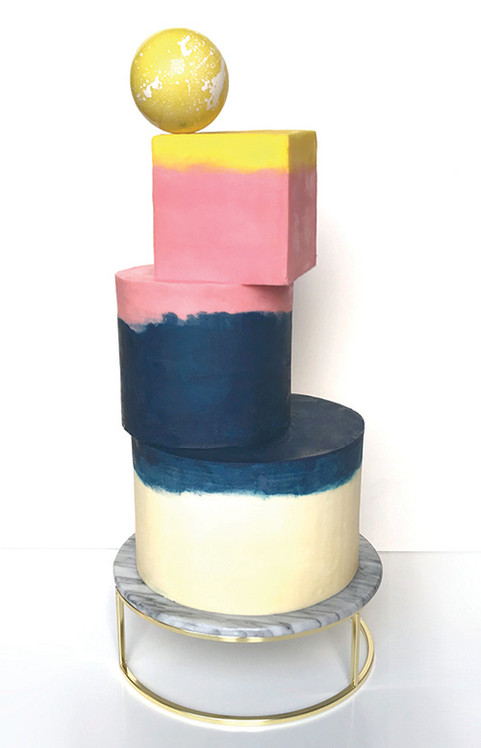 Three tier stacked shapes cake