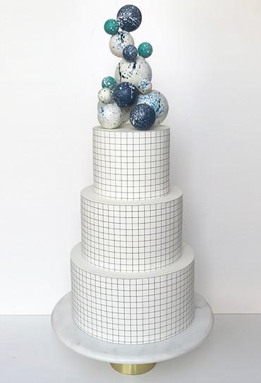 Three tier grid cake