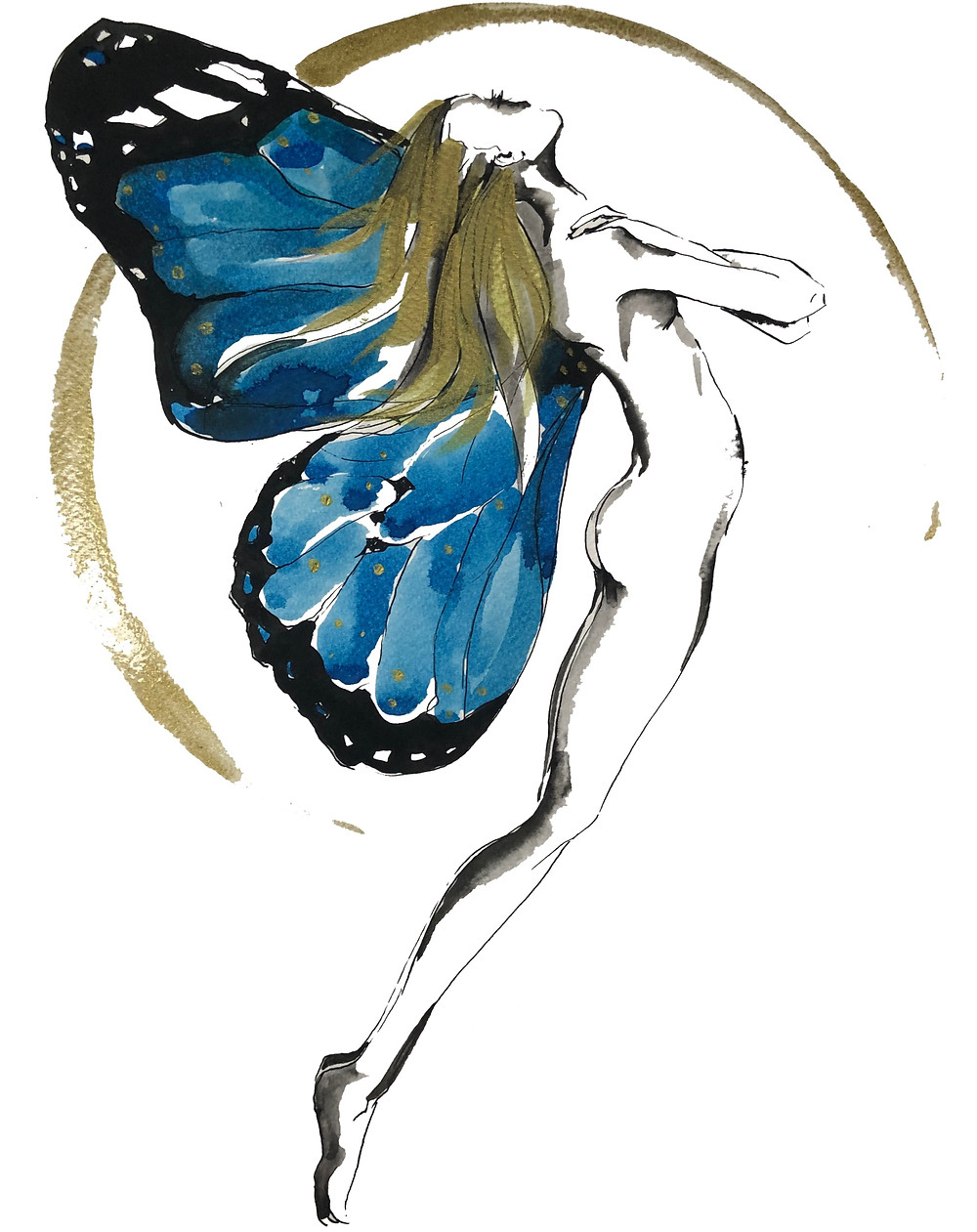 Girl with Blue Butterfly Wings
