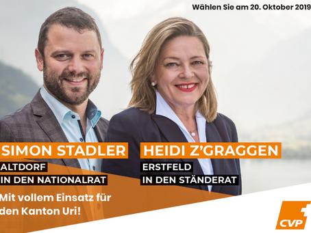 CVP Uri lanciert Wahlkampf