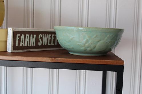 Vintage USA Teal Glaze Pottery Bowl Embossed Fruits