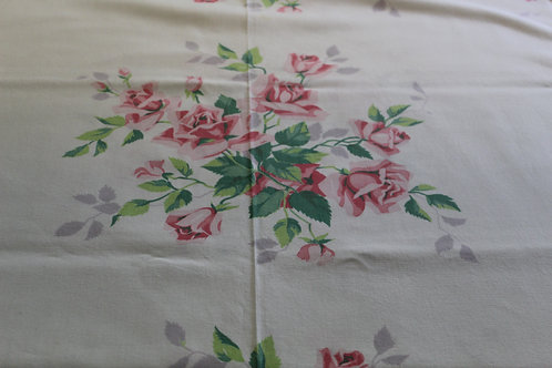 Vintage Wilendur Pink Roses Large Tablecloth with Label Cottage Chic