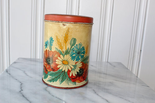 Vintage Canister Tin Floral Reds Summer Daisy Poppy Red Lid