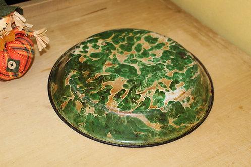 Vintage Graniteware Chrysolite Green & White Swirl Pie Pudding Pan