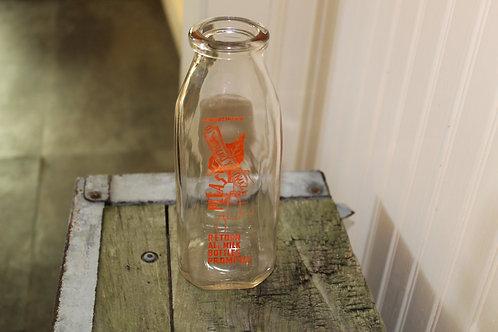 Vintage Glass Milk Bottle One Pint Sanitary Dairy Co Waynesburg Pa