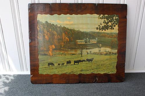 Vintage rural Farmhouse Landscape Picture Retro Decoupage Tygart Valley West Vir
