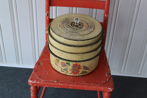 Vintage 3 tier Cake and Pie Tin Metal Carrier with Lid Country Farm Kitchen