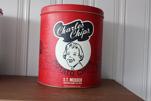 Vintage Red Charles Chips Potato Chips Can  Lancaster County, Pa 1990