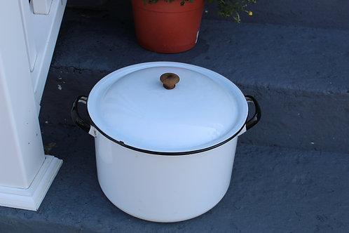 Vintage Large Enamelware Stock Pot White w Black Trim Wooden Knob on Lid