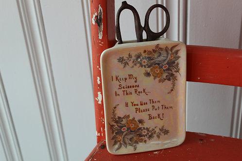 Vintage Porcelain Wall Pocket Mother of Pearl for Sewing Scissors Floral