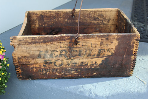 Vintage Farmhouse Wooden Box Old Primitive Hercules Explosives with Handle