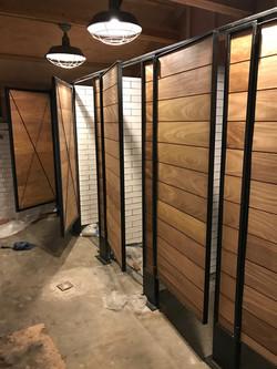 Shower Spa Doors Metal Framed Teak Inlay