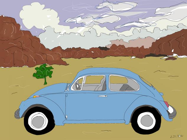 Blue VW in Desert