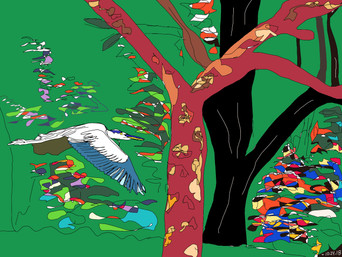 Quirky flyin' through colorful trees