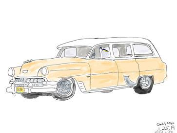 Q in Caddy Wagon