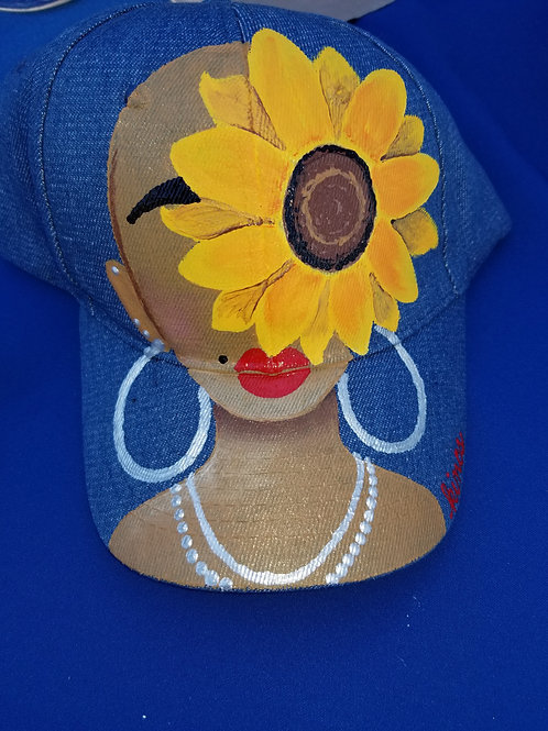 """""""Hey Sunflower"""" denim hat"""