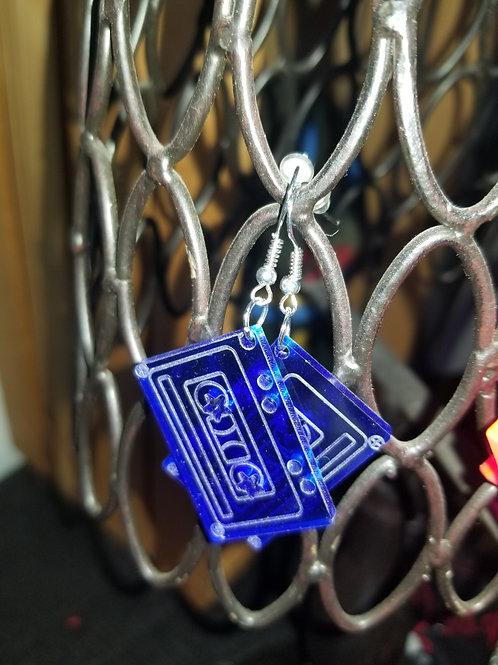 Blue acrylic cassette tape earrings
