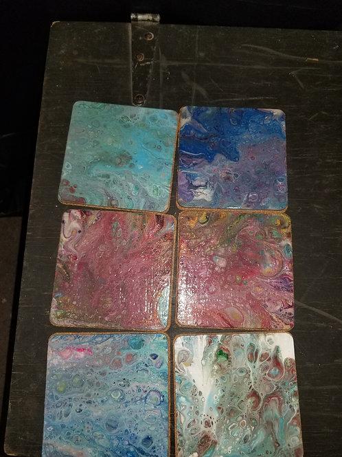6 piece acrylic pour coasters