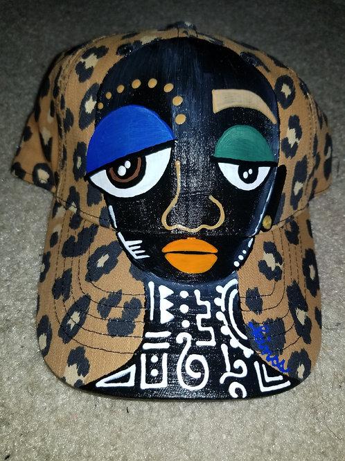 Leopard print baseball hat.