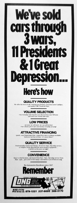 Long Automotive mid-1980s ad
