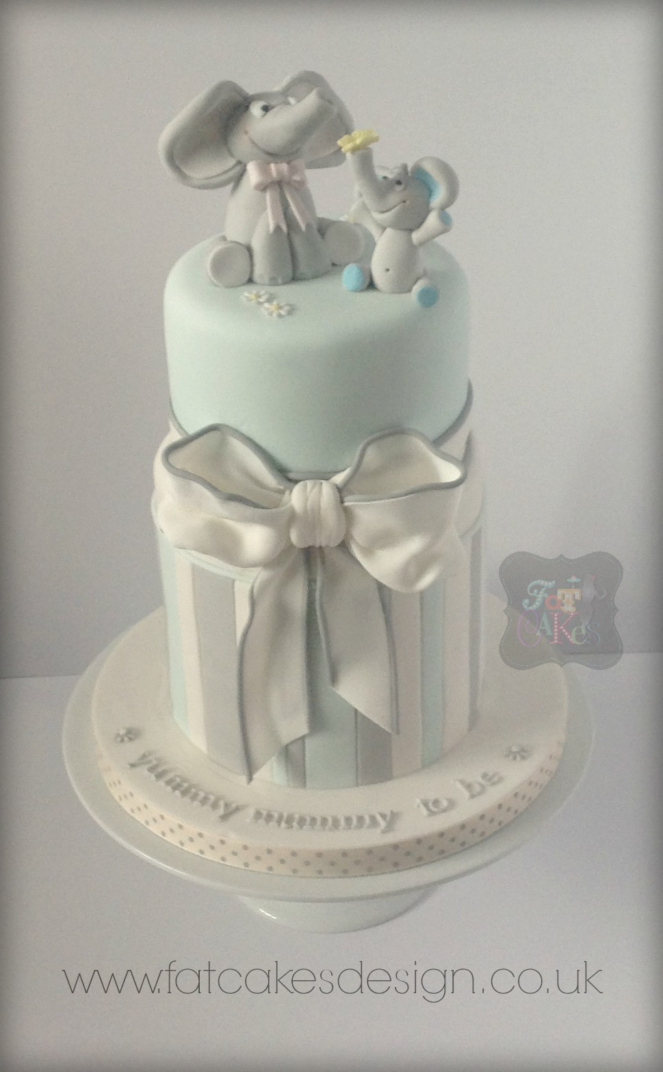 Blue And Grey Baby Shower Elephants Cake