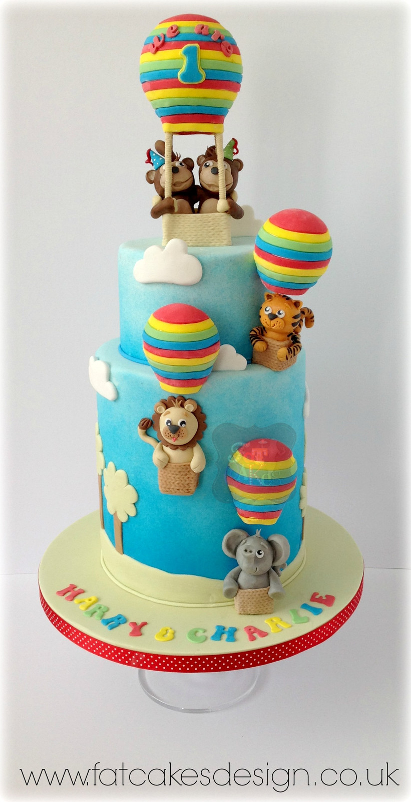 Hot Air Balloons Twins Birthday Cake